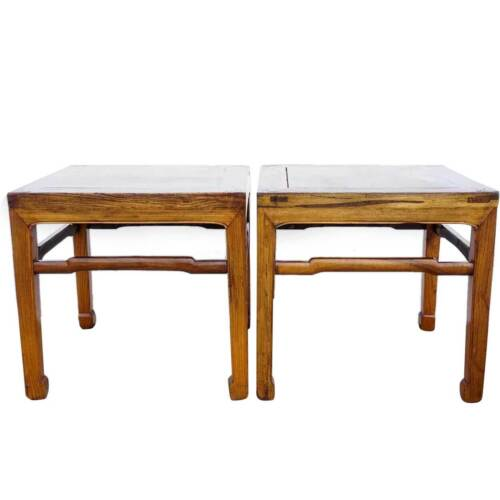 Pair of Antique Pair Small Chinese Elm Square Side Tables 19th century