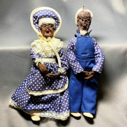 "Vintage Hand Made Folk Art Dolls Dried Apple Head Doll Pair Couple 10"" Tall"