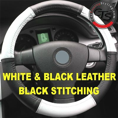 PEUGEOT 1007 106 107 206 207 STEERING WHEEL COVER WHITE & BLACK QUALITY  LEATHER