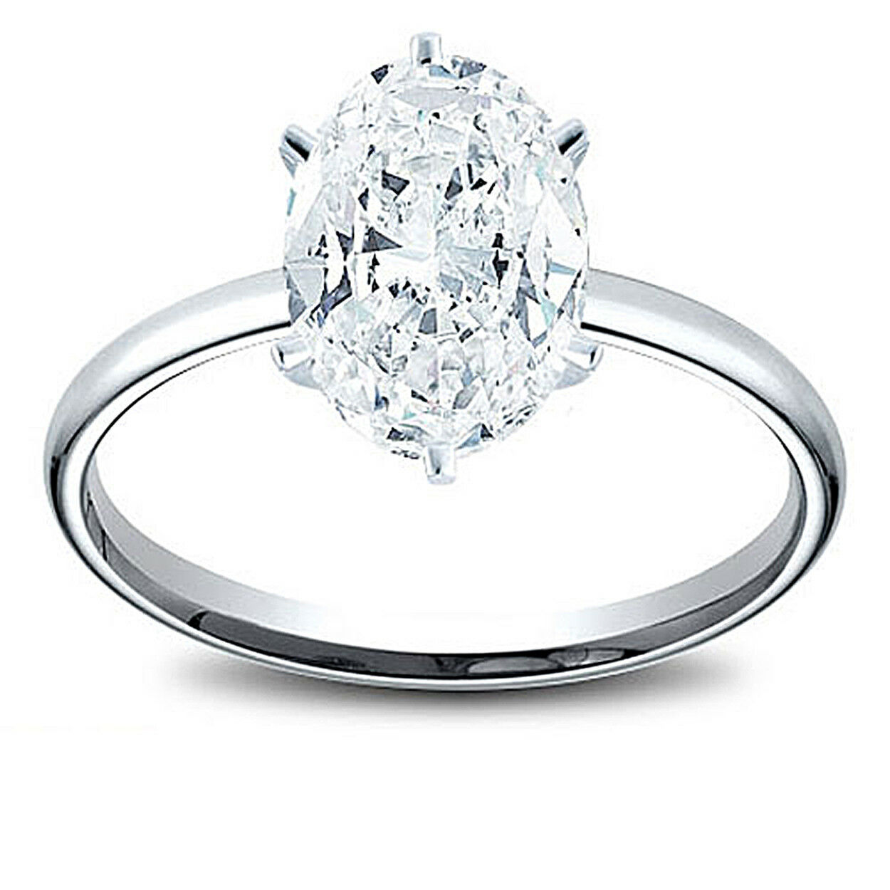 14K Gold 0.72 ct Oval Cut Diamond GIA Solitaire Engagement Ring E VS1