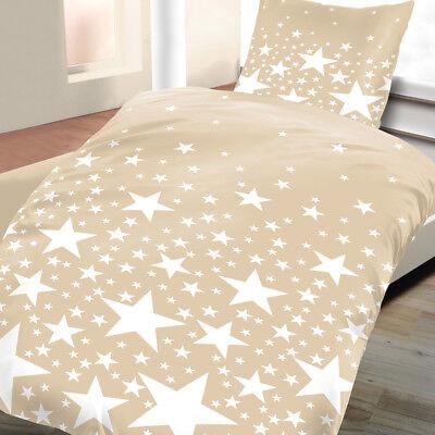 Baumwoll Biber Bettwäsche 135x200 2tlg 4 tlg Sterne beige