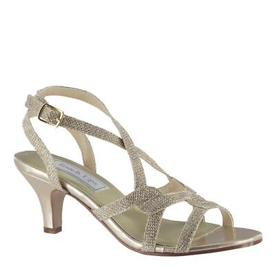 Touch Ups Womens Flatter Low Heel Sandal Champaign Size 9.5 #NCMV6-M91 Touch-ups Low Heel Heels