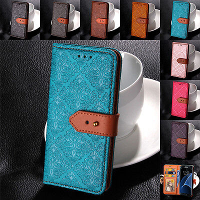 For Samsung Galaxy S9 S8+ S5 S7 S6 Genuine Leather Buckle Flip Case Wallet