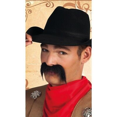 *SALE ** Large Bushy Black Cowboy Tash Moustache Western Fancy Dress](Moustache Sale)