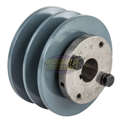 Cast Iron 3.75 2 Groove Dual Belt B Section 5l Pulley With 78 Sheave Bushing