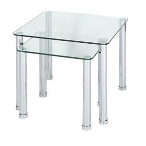 Glass nest of tables ebay glass top nest of tables watchthetrailerfo