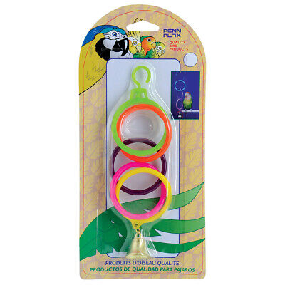 Penn Plax Super Olympic Rings with Metal Bell Bird Toy