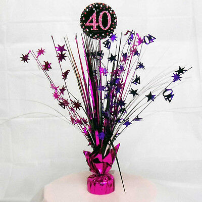 40th Birthday Spray Centrepiece Table Decoration Black Pink Purple Age 40 Party ](40th Birthday Table Centerpieces)