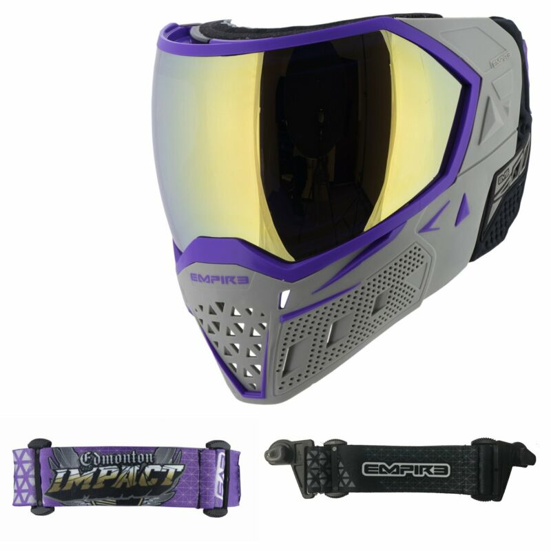 EMPIRE EVS PAINTBALL MASK GOGGLES - IMPACT GREY PURPLE - 2 STRAPS - GOLD LENS