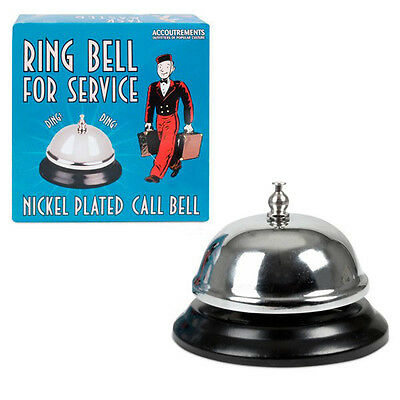 - Nickel Plated Service Desk Counter Top Call Bell - Novelty Fun Gag Gifts