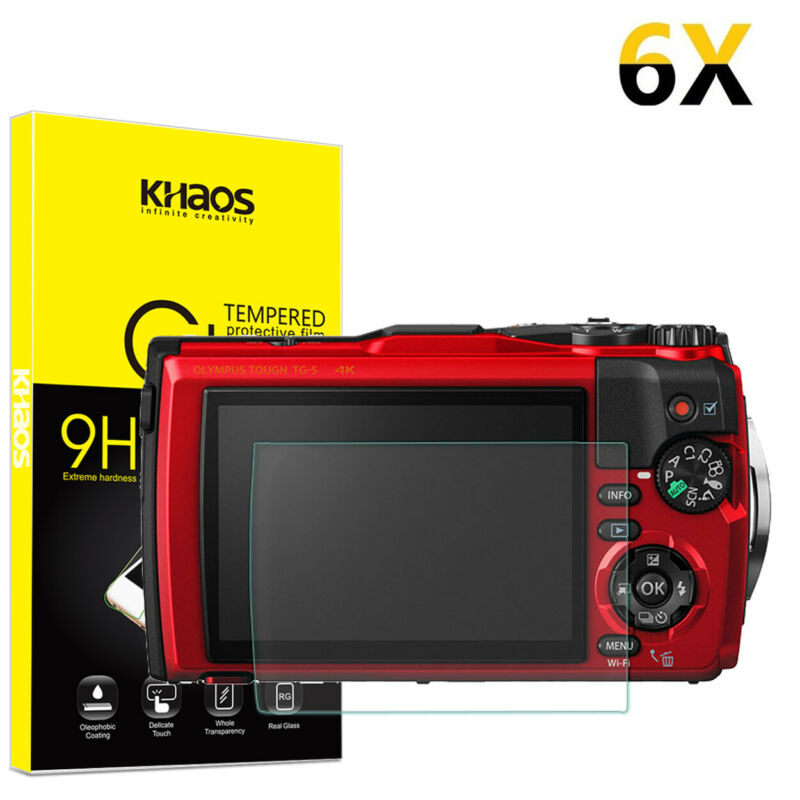 6-Pack Khaos For Olympus TG-5 TG-4 TG-3 Tempered Glass Screen Protector