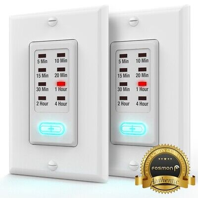 2x Grounded ETL Countdown Wall Programmable Switch Timer Auto Bathroom Fan Light