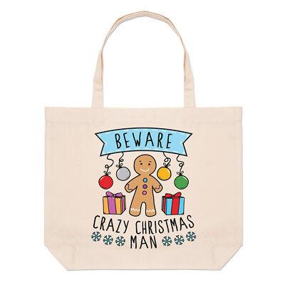 Hüten Sie Sich vor Verrückt Weihnachten Man Groß Strand Tragetasche -