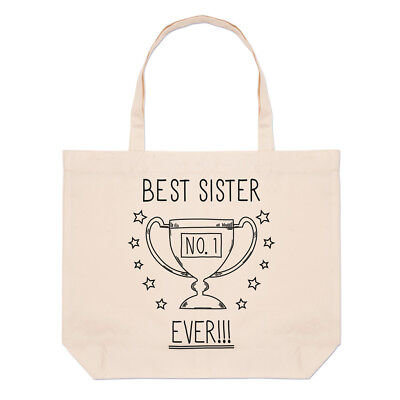 Best Sister Ever No.1 Trophy Large Beach Tote Bag - Funny Favourite (Best Beach Bag Ever)