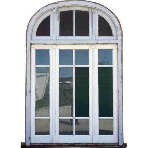 Large Antique Argentine Painted Mahogany Window with Arched Transom c. 1910