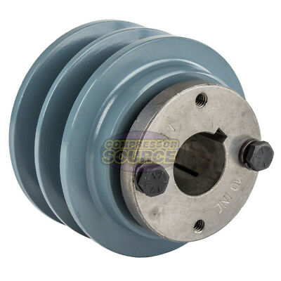 Cast Iron 3.5 2 Groove Dual Belt B Section 5l Pulley With 1 Sheave Bushing