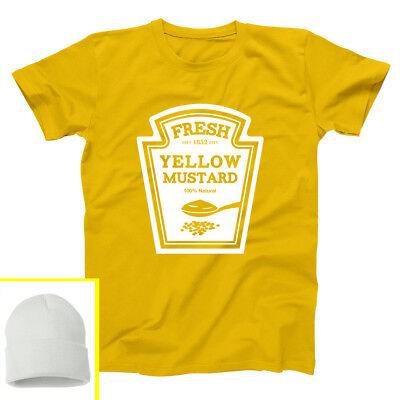 Hat Mustard Costume Set Funny Outfit Halloween Cute Gold Basic Men's T-Shirt](Mustard Halloween Costume)