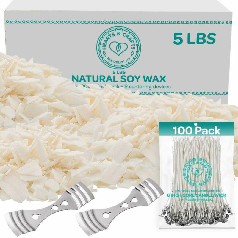 100% Soy Wax Flakes 5LB - All Natural Candle Making Set w/ Wicks & Wick Holders