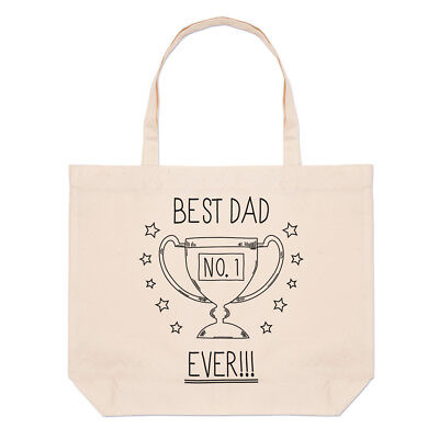 Best Dad Ever No.1 Large Beach Tote Bag - Funny Father's Day Shopper (Best Beach Bag Ever)