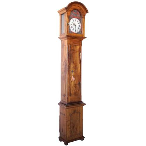 Antique French Provincial Olive Wood and Oak Grandfather Clock c. 1780