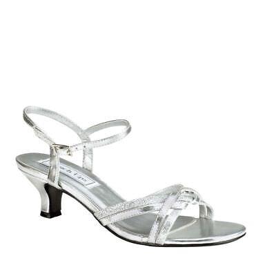 Touch Ups Womens Melanie Low Heel Sandal Silver Size 10 #NCMVB-M92 Touch-ups Low Heel Heels