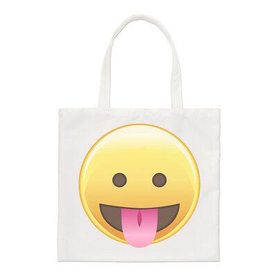 Zunge Raus Augen Emoji Regulär Einkaufstasche Smiley Lustig Schulter (Smiley Zunge Raus)