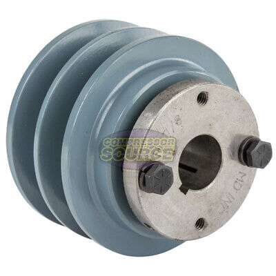 Cast Iron 3.35 2 Groove Dual Belt B Section 5l Pulley With 78 Sheave Bushing
