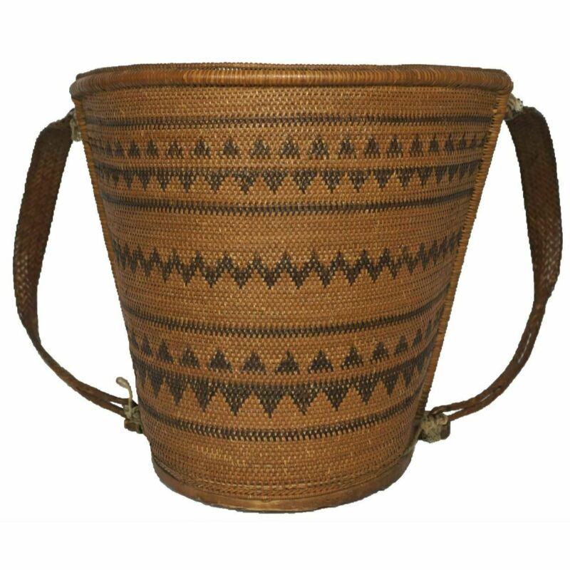 Dayak Tribe Baby Carrier Borneo Indonesia Mid 20th Century Woven Rattan Basket