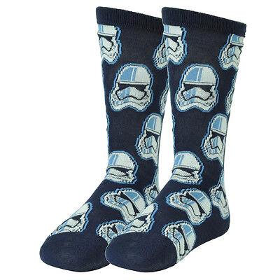 Star Wars Stormtroopers Navy Blue Long Socks Size 6-12 Black Movie Character