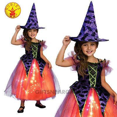 Girls Purple & Orange Light up Witch Halloween Costume w Owl print Hat S/M - Owl Costumes For Girls