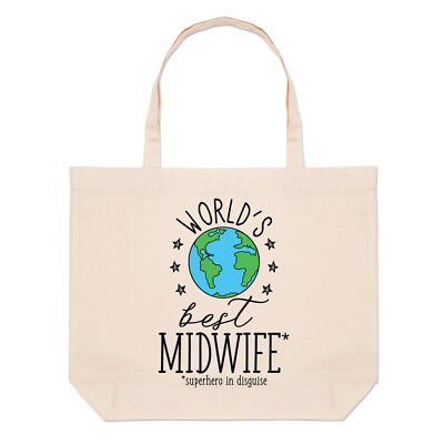 World's Best Midwife Large Beach Tote Bag - Funny Gift Present Shoulder