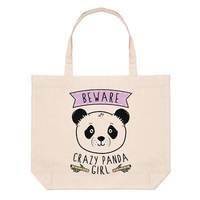 Funny Girl Tote - Beware Crazy Panda Girl Large Beach Tote Bag - Funny Animal