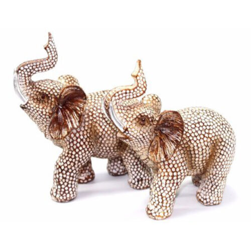 Feng Shui Pair of Polyresin Elephant Trunk Statue Lucky Figurine Gift Home Decor