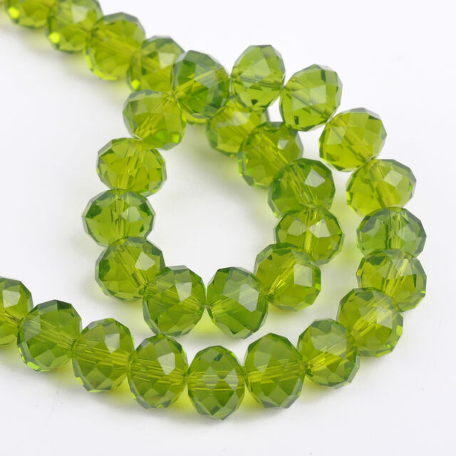 New 72pcs 8mm Rondelle Faceted Crystal Glass Beads Jewelry Making Olive Green
