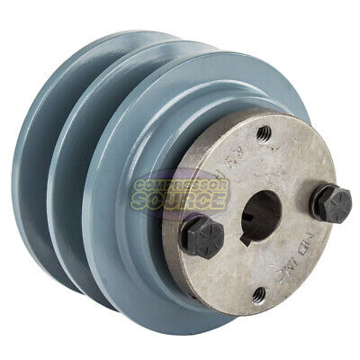 Cast Iron 3.35 2 Groove Dual Belt B Section 5l Pulley With 58 Sheave Bushing