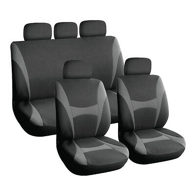 Grey and Black, Executive Car Seat Covers, Front & Rear Plush Velour EASY FIT