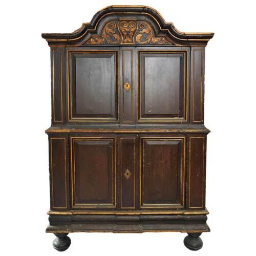 Antique Scandinavian Baroque Painted & Gilt Pine Two-Part Cabinet 18th century