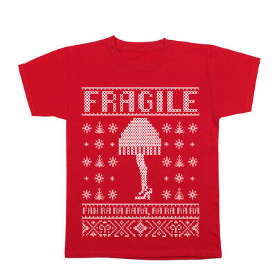 Fragile Lamp Christmas Story Leg  Outfit  Xmas  Costume  Cute Red Youth T-Shirt](Leg Lamp Costume)