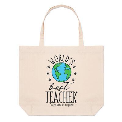 Weltweit Beste Lehrer Groß Strand Tragetasche - Lustig Geschenk Schule Schulter