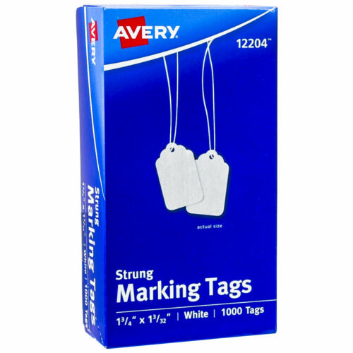 """Avery 12204 Strung Marking Tags, 1-3/4 x 1-3/32"""", White, Box of 1000"""