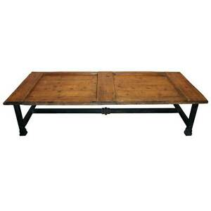 Large Antique French Farmhouse Door Pine Iron Base Coffee Table Ebay