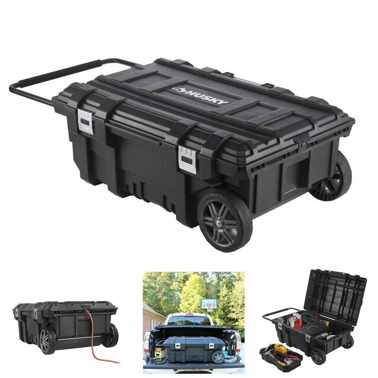 35 in. Mobile Job Box Rolling Portable Tool Storage Cart Wea
