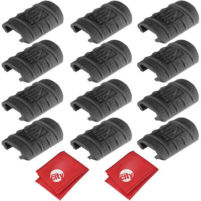 UTG Low Profile Max Security Black Rubber Rail Guard,12 Pieces (RB-HP12B-B)