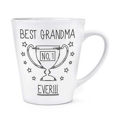 Best Grandma Ever No.1 Trophy 12oz Latte Mug Cup - Funny Favourite