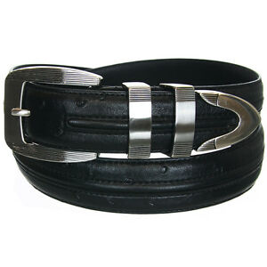 Beverly Hills Polo Club Men's Ostrich Embossed Leather Belt (Sizes 32