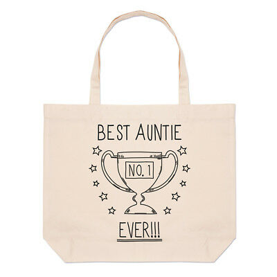 Best Auntie Ever No.1 Trophy Large Beach Tote Bag - Funny Favourite (Best Beach Bag Ever)