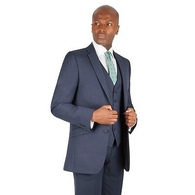 Racing Green Blue Tailored Fit Suit Jacket & Waistcoat Mens 38R box55 57 B