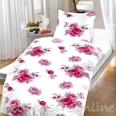 Baumwoll Bettwäsche 135x200 cm 2 teilig floral weiß rosa modern