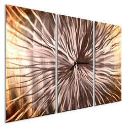 Metal Wall Clock Approaching Sun I Abstract Contemporary Home Décor by Ash Carl