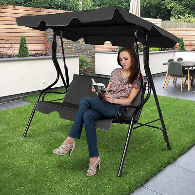 3 Person Hammock Seater Garden Furniture Swing Chair Patio Outdoor Bench Canopy